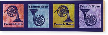 Four French Horns Wood Print by Jenny Armitage