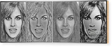 Four Interpretations Of Hilary Swank Wood Print by J McCombie