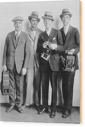 Four Members Of The White House News Wood Print by Everett