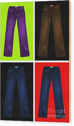 Four Pairs Of Blue Jeans - Painterly Wood Print by Wingsdomain Art and Photography