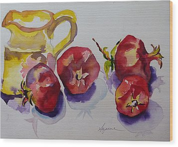 Four Pomegranates Wood Print by Suzanne Willis