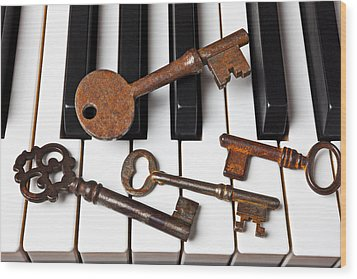 Four Skeleton Keys Wood Print by Garry Gay