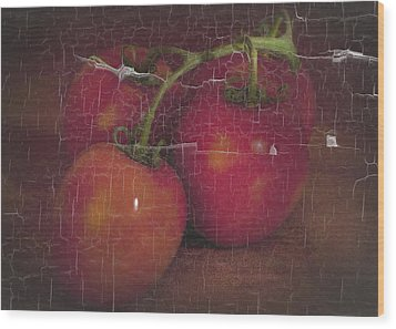 Four Tomatoes Crackle Wood Print by James Bethanis