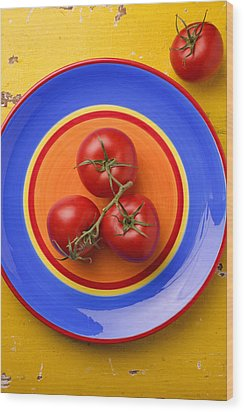 Four Tomatoes  Wood Print by Garry Gay