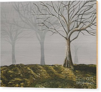 Four Trees Wood Print
