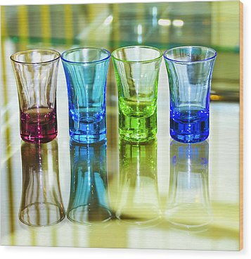 Four Vodka Glasses Wood Print by Svetlana Sewell