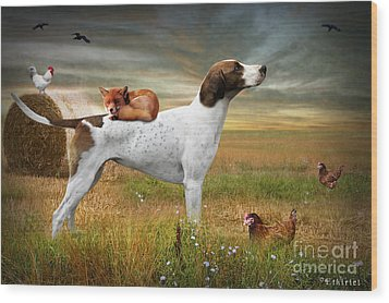 Fox And Hound Wood Print by Ethiriel  Photography