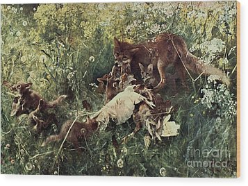 Fox Family Wood Print by Pg Reproductions