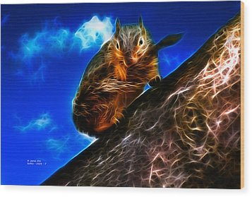 Fractal - How Do You Like My Mustache - Robbie The Squirrel Wood Print by James Ahn
