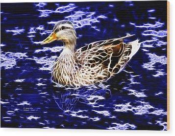 Fractal - Mallard In Pond- 9164 Wood Print by James Ahn