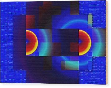 Wood Print featuring the digital art fractal Mondrian by Mario Carini