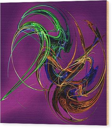 Fractal Tatoo-purple Wood Print by Michael Durst