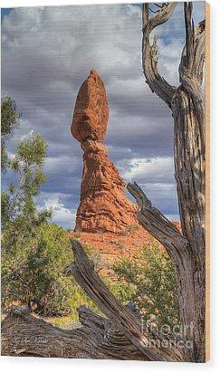 Framed Balance Rock Wood Print