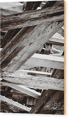 Framework Kinsol Trestle Wooden Frame In Abstract Black And White Wood Print by Andy Smy