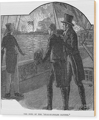 Francis Scott Key (1779-1843). American Lawyer And Poet. Witnessing The Bombardment Of Fort Mchenry, September 13-14, 1814: Wood Engraving, American, 1885 Wood Print by Granger