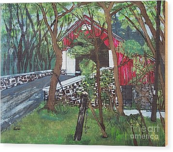 Frankenfield Covered Bridge Wood Print by Lucia Grilletto