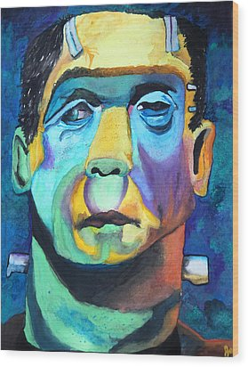 Frankenstein In Colour Wood Print by Jacquie Waldman