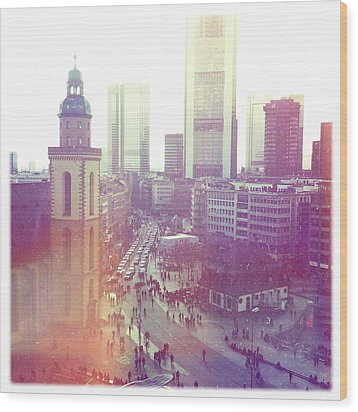 Frankfurt Downtown Wood Print by Ixefra
