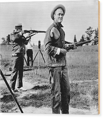 Franklin Roosevelt On A Rifle Range Wood Print by Everett