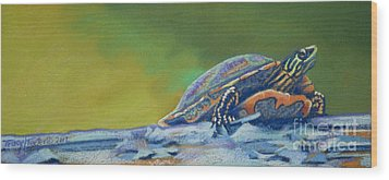 Frank's Turtle Wood Print by Tracy L Teeter