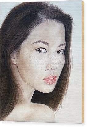 Freckle Faced Asian Model Wood Print by Jim Fitzpatrick