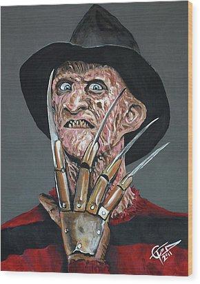 Freddy Kruger Wood Print by Tom Carlton