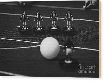 Free Kick Wall Of Players Football Soccer Scene Reinacted With Subbuteo Table Top Football  Wood Print by Joe Fox