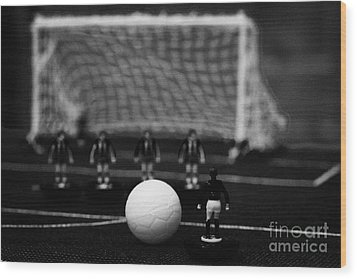 Free Kick With Wall Of Players Football Soccer Scene Reinacted With Subbuteo Table Top Football  Wood Print by Joe Fox