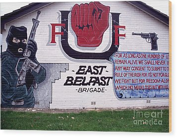 Freedom Corner Mural Belfast Wood Print by Thomas R Fletcher