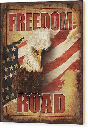 Freedom Road Sign Wood Print by JQ Licensing