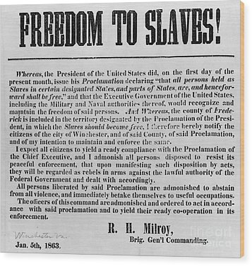 Freedom To Slaves Wood Print by Photo Researchers