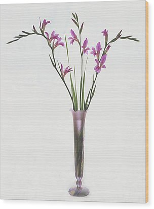 Freesias In Vase Wood Print