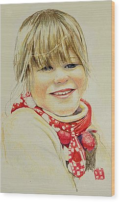 Wood Print featuring the drawing Freja 1 by Tim Ernst
