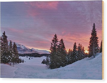 French Alps At Sunset Wood Print by Philipp Klinger