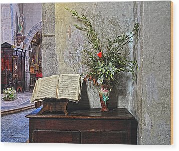 Wood Print featuring the photograph French Church Decorations by Dave Mills