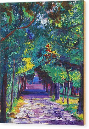 French Country Road Wood Print by David Lloyd Glover