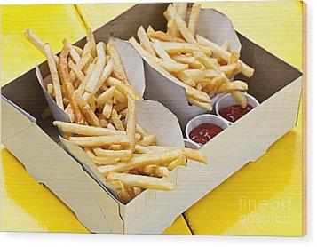 French Fries In Box Wood Print by Elena Elisseeva