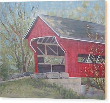 French Lick Covered Bridge Wood Print by Julie Cranfill