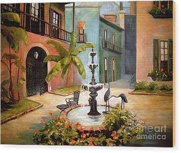 French Quarter Fountain Wood Print