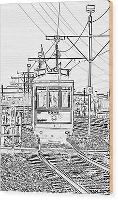French Quarter French Market Cable Car New Orleans With Photocopy Wood Print by Shawn O'Brien