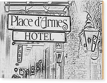 French Quarter Place Darmes Hotel Sign And Gas Lamps New Orleans Photocopy Digital Art Wood Print by Shawn O'Brien