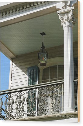 Wood Print featuring the photograph French Quarter Porch by Jeanne  Woods