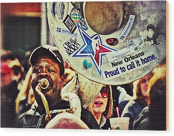 Wood Print featuring the photograph French Quarter Tuba Guy 1 by Jim Albritton