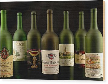 French Wine Labels Wood Print by David Campione