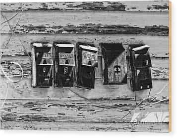 Freret Street Mailboxes - Black And White -nola Wood Print by Kathleen K Parker