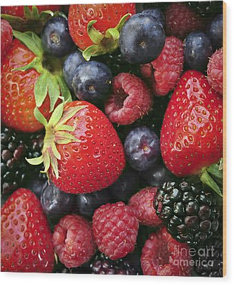Fresh Berries Wood Print by Elena Elisseeva