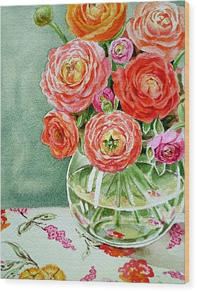 Fresh Cut Flowers Wood Print by Irina Sztukowski