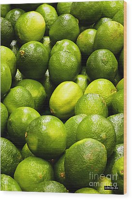 Fresh Limes Wood Print by Methune Hively