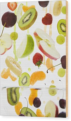 Fresh Mixed Fruit With Apple & Orange Juice Wood Print by Andrew Bret Wallis