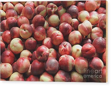 Fresh Nectarines - 5d17813 Wood Print by Wingsdomain Art and Photography